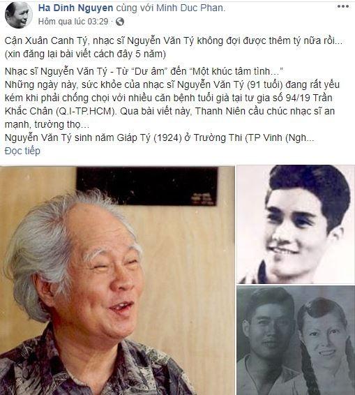 Cộng đồng mạng tiếc nuối sự ra đi của nhạc sĩ Nguyễn Văn Tý - ảnh 4