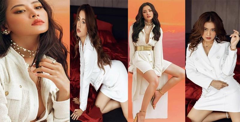 Hoàng Thùy Linh, Chi Pu đọ dáng gợi cảm cùng váy trắng  - ảnh 2