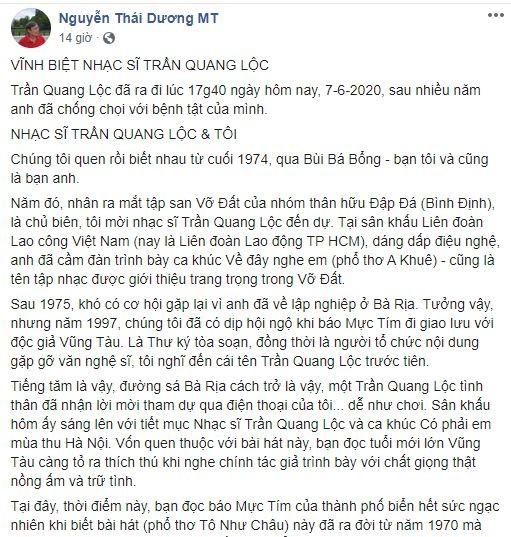 Nhà thơ Nguyễn Thái Dương nhắc nhớ nhạc sĩ Trần Quang Lộc - ảnh 1