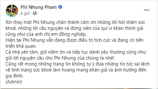 Sức khỏe ca sĩ Phi Nhung đã tiến triển tốt sau hơn một tháng điều trị COVID  - ảnh 1