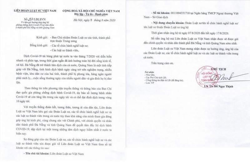 Liên đoàn Luật sư Việt Nam kêu gọi chung tay chống COVID-19 - ảnh 1