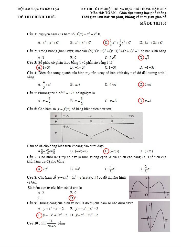 Gợi ý kết quả môn toán kỳ thi tốt nghiệp THPT quốc gia 2018 - ảnh 1