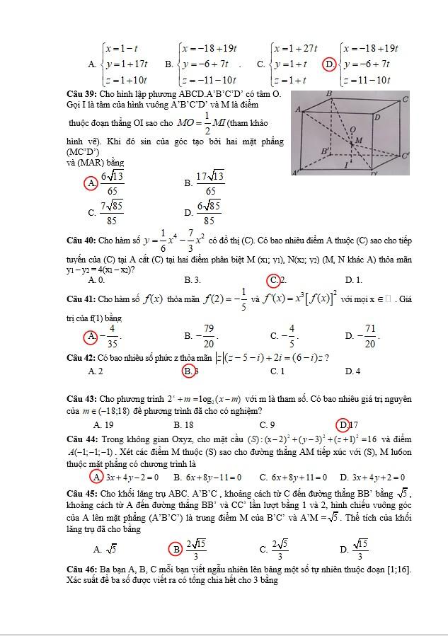 Gợi ý kết quả môn toán kỳ thi tốt nghiệp THPT quốc gia 2018 - ảnh 5