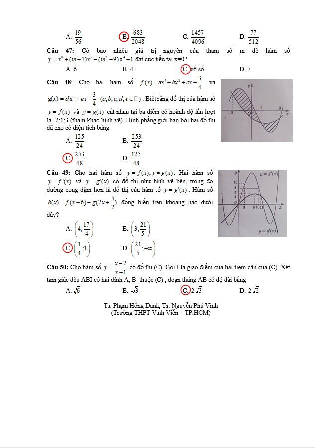 Gợi ý kết quả môn toán kỳ thi tốt nghiệp THPT quốc gia 2018 - ảnh 6