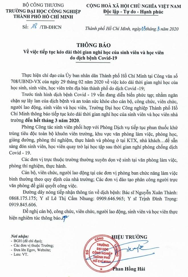 Dịch COVID-19: 7 trường học cho sinh viên nghỉ hết tháng 3 - ảnh 2