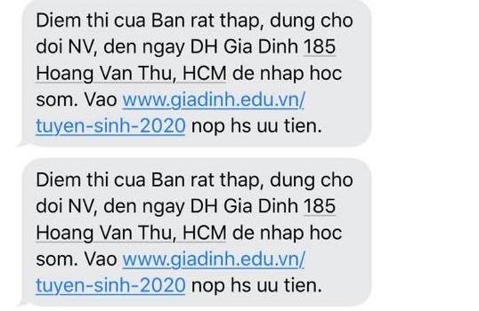 Đại học Gia Định lên tiếng sau loạt tin nhắn 'chê điểm thấp' - ảnh 1