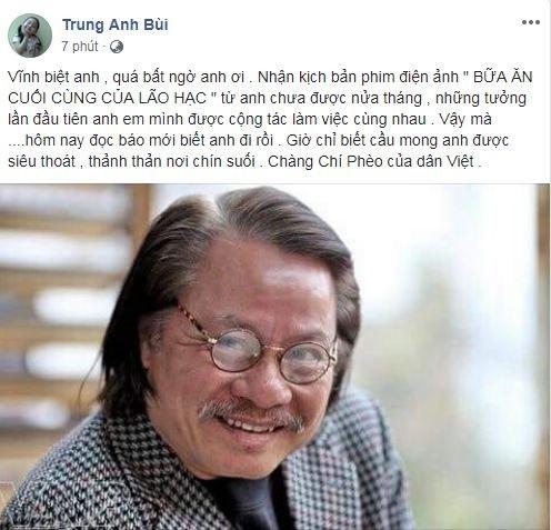 Sao Việt thương tiếc khi biết tin nghệ sĩ Bùi Cường qua đời - ảnh 2