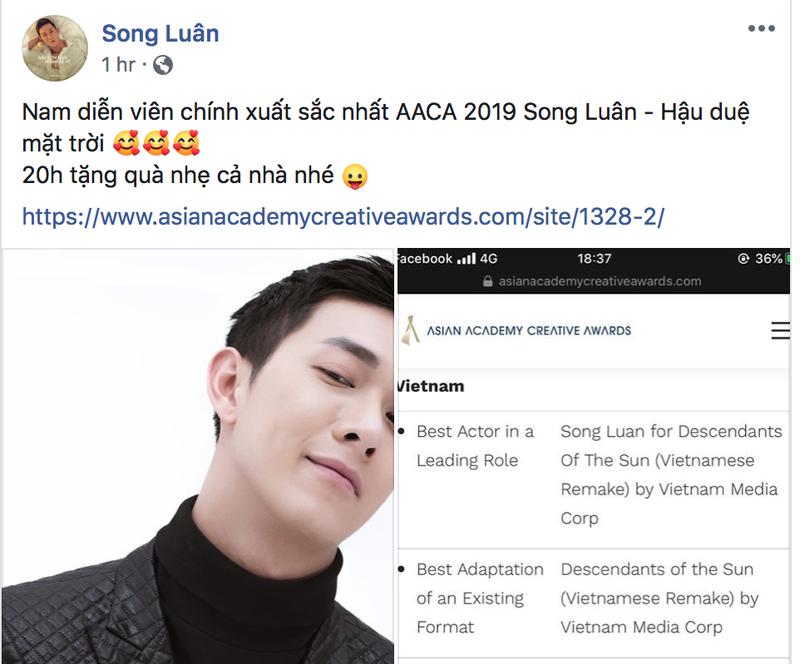 Song Luân thắng giải ở Singapore nhờ 'Hậu duệ mặt trời' - ảnh 2