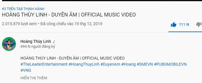 Hoàng Thùy Linh tung MV Duyên âm sau 2 ngày top 3 trending   - ảnh 1