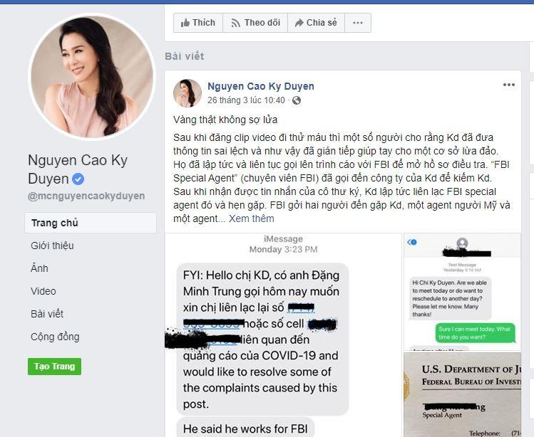 MC Nguyễn Cao Kỳ Duyên bị nghi tiếp tay lừa đảo về COVID-19 - ảnh 2