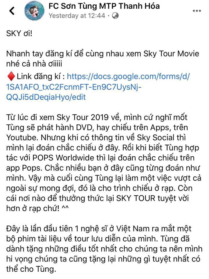 Fan đặt vé phim Sky Tour kín rạp để được giao lưu Sơn Tùng MTP - ảnh 2