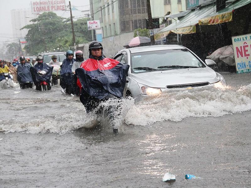 TP.HCM: Mưa như trút nước, người dân bì bõm về nhà - ảnh 12