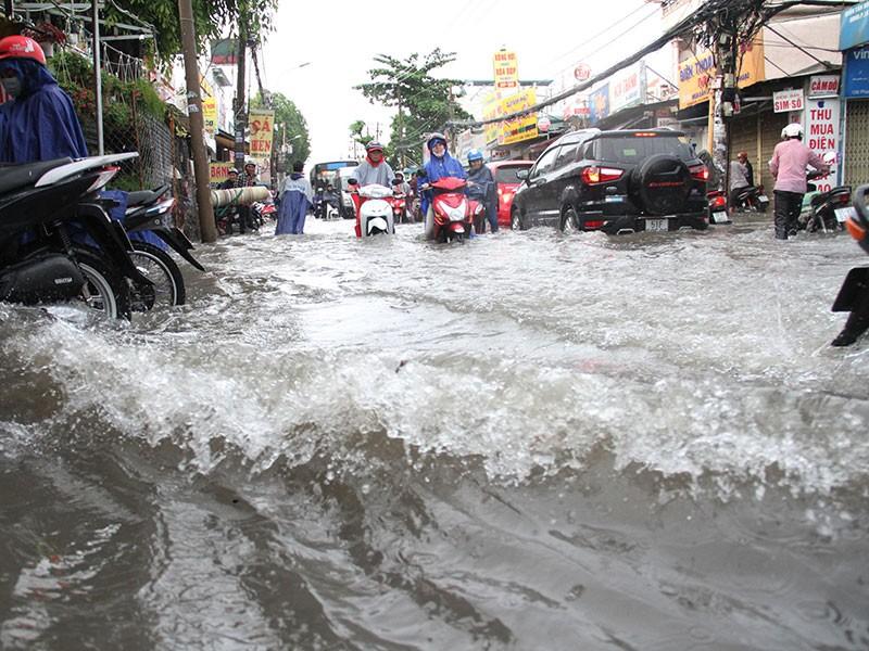 TP.HCM: Mưa như trút nước, người dân bì bõm về nhà - ảnh 10