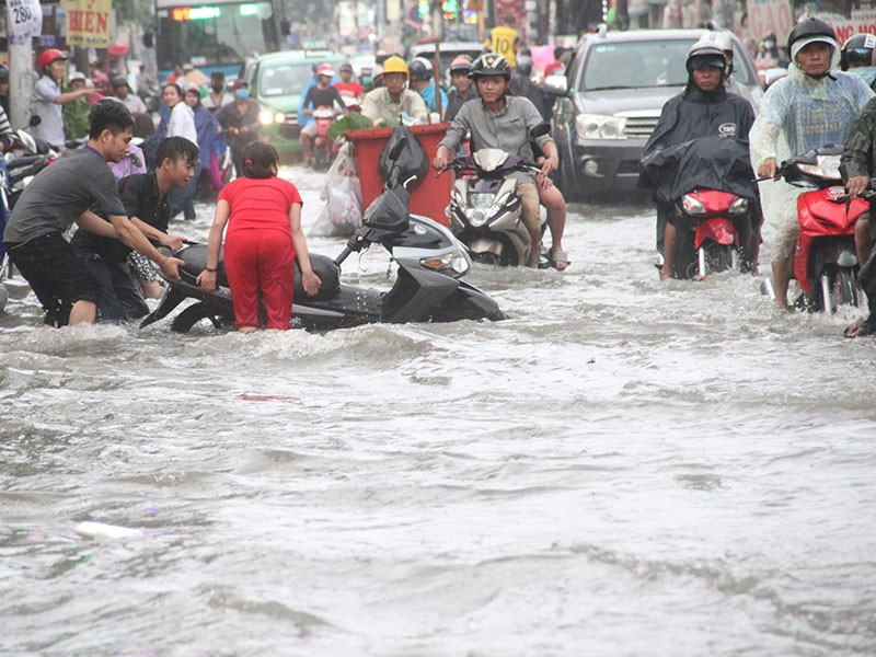 TP.HCM: Mưa như trút nước, người dân bì bõm về nhà - ảnh 8