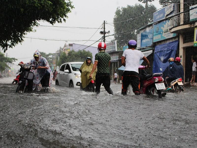 Mưa như trút nước, đường TP.HCM cuối tuần ngập nặng - ảnh 4