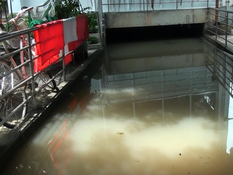 Mưa lớn, nước như thác đổ nhấn chìm hầm xe chung cư - ảnh 8
