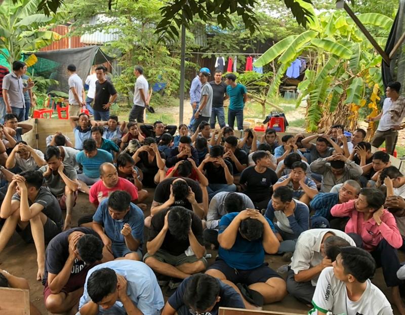 Cảnh sát vây trường gà ở Tân Phú, bắt giữ 72 con bạc  - ảnh 2