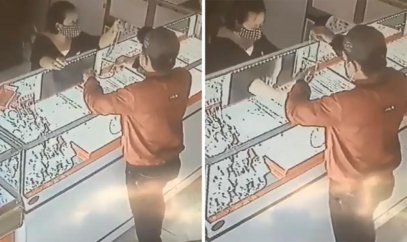 Thanh niên giật 2 sợi dây chuyền trong tiệm vàng ở Củ Chi - ảnh 1