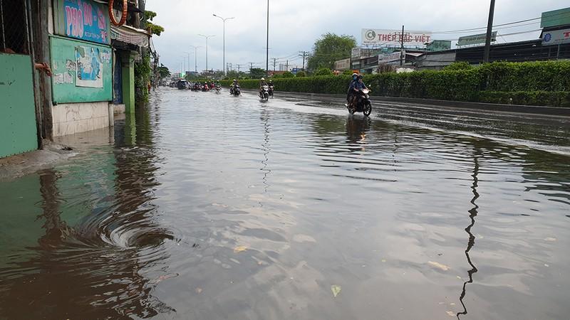 Mưa lớn, đường ngập, người dân hối hả đi móc cống - ảnh 9
