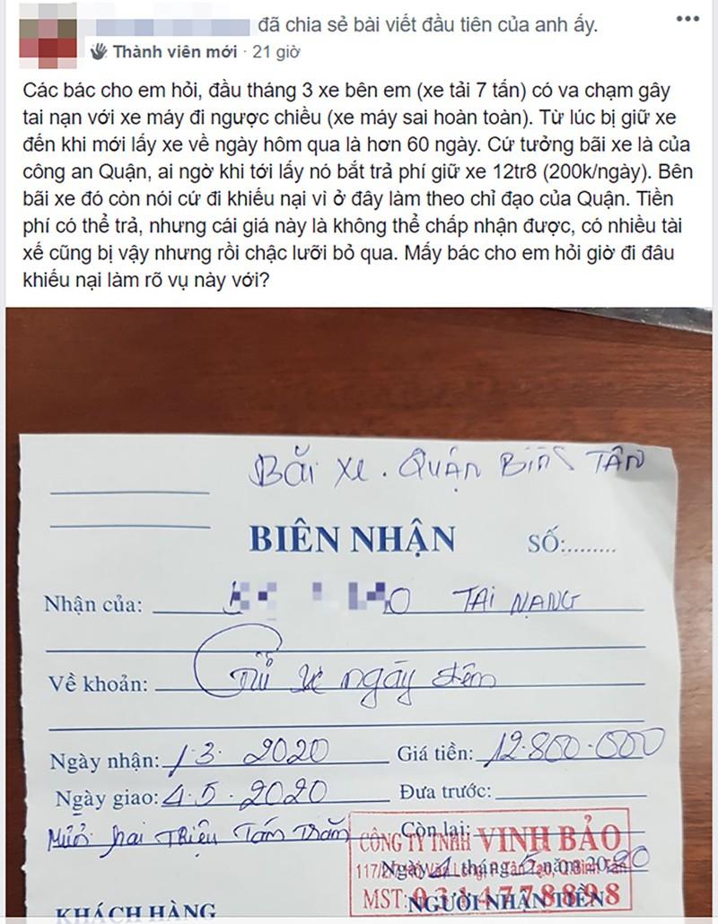 Công an quận Bình Tân xác minh vụ giữ xe 2 tháng mất 12 triệu - ảnh 2