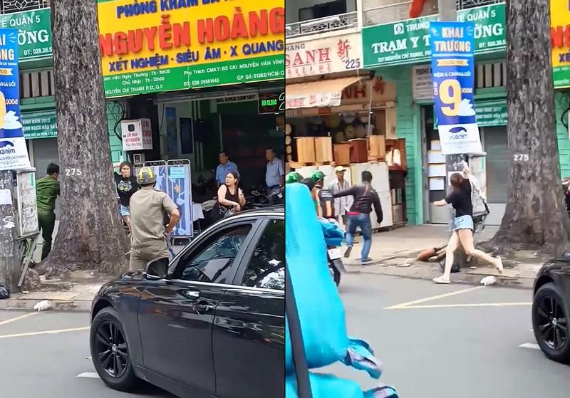 Thanh niên múa gậy đập xe BMW trên đường ở TP.HCM  - ảnh 1