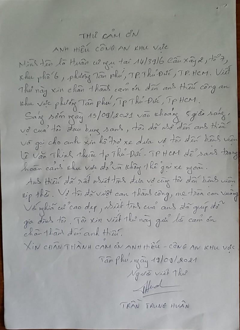 Người dân 'vùng đỏ' viết thư cảm ơn 1 cảnh sát khu vực ở TP Thủ Đức - ảnh 1