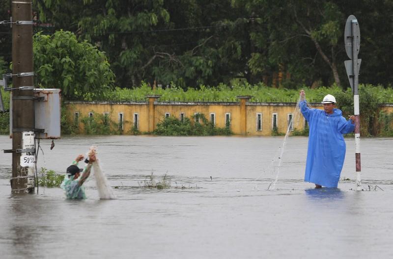 Quảng Nam: Người dân đội mưa bắt cá trong lũ - ảnh 2