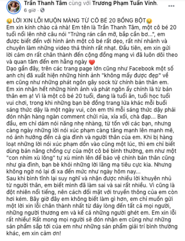 Hot girl Tiktok lên tiếng xin lỗi vì phát ngôn gây tranh cãi - ảnh 2