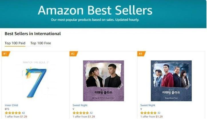 V (BTS) làm nên lịch sử khi có 3 vị trí đầu bảng trên Amazon - ảnh 2