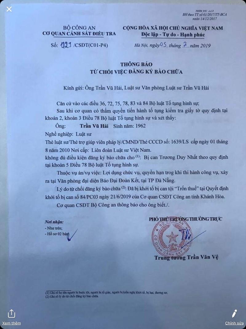 Ông Trần Vũ Hải bị từ chối bào chữa cho ông Trương Duy Nhất - ảnh 1