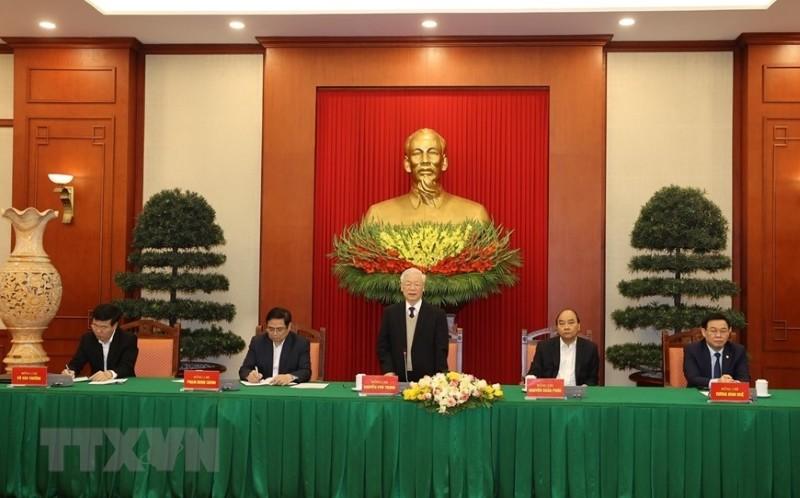 Bộ Chính trị gặp mặt các nguyên ủy viên không tái cử khóa XIII - ảnh 2