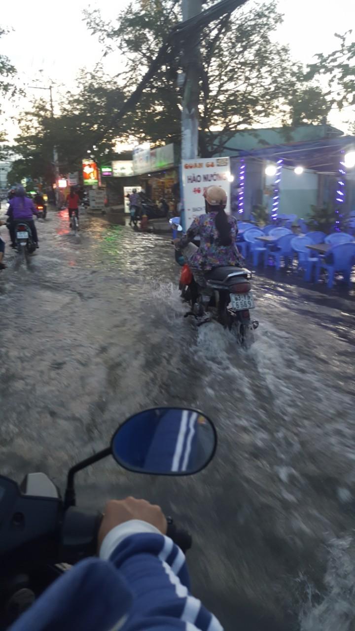 Đường Lê Văn Lương biến thành sông vì triều cường - ảnh 3
