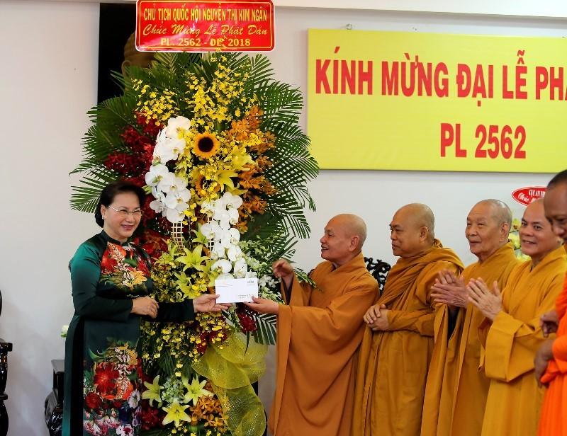Chủ tịch Quốc hội chúc mừng Giáo hội Phật giáo tại TP.HCM - ảnh 1