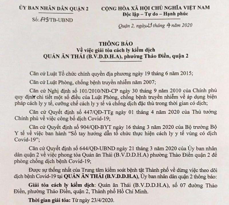 Giải tỏa cách ly quán bar Buddha quận 2 - ảnh 1
