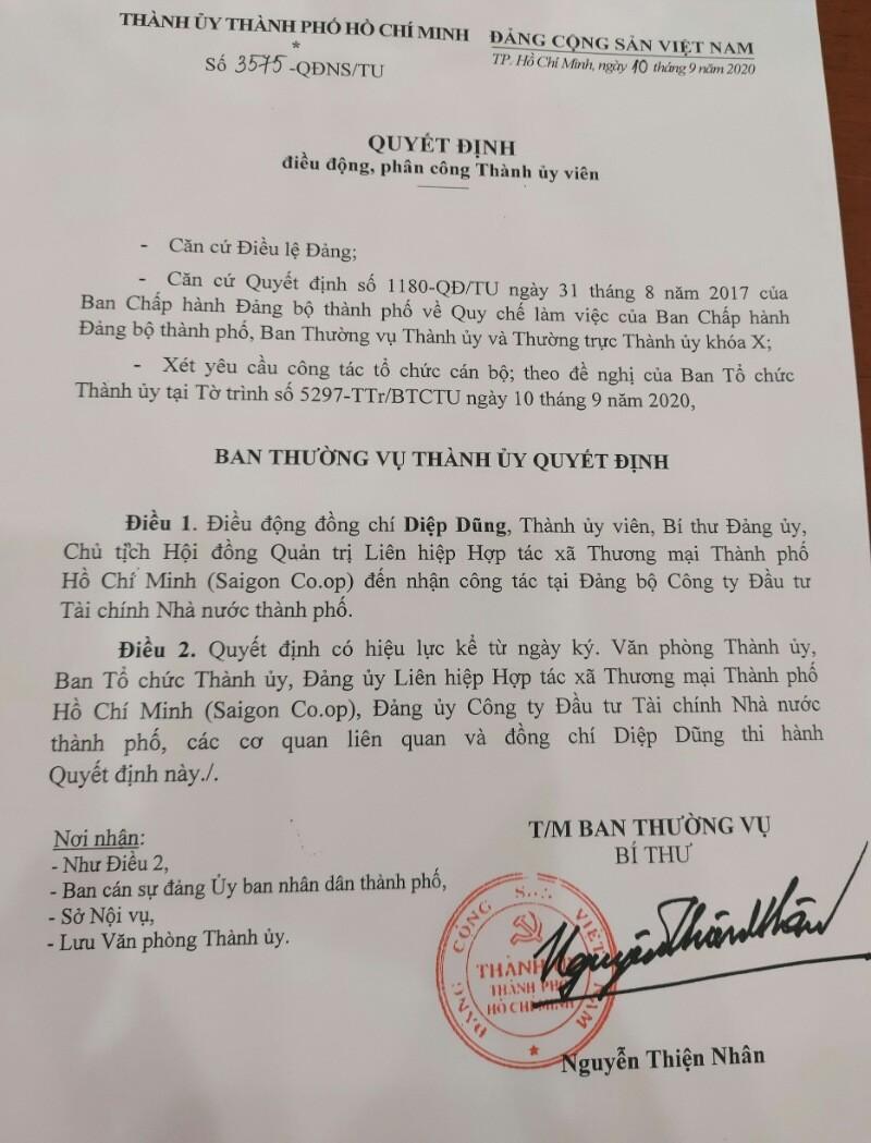 Chủ tịch HĐQT Saigon Co.op được điều động nhận công tác mới - ảnh 1