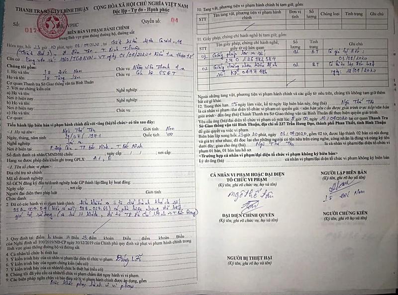 Bình Thuận thông tin xe khách chở 30 người bị CSGT Hà Nội giữ - ảnh 3