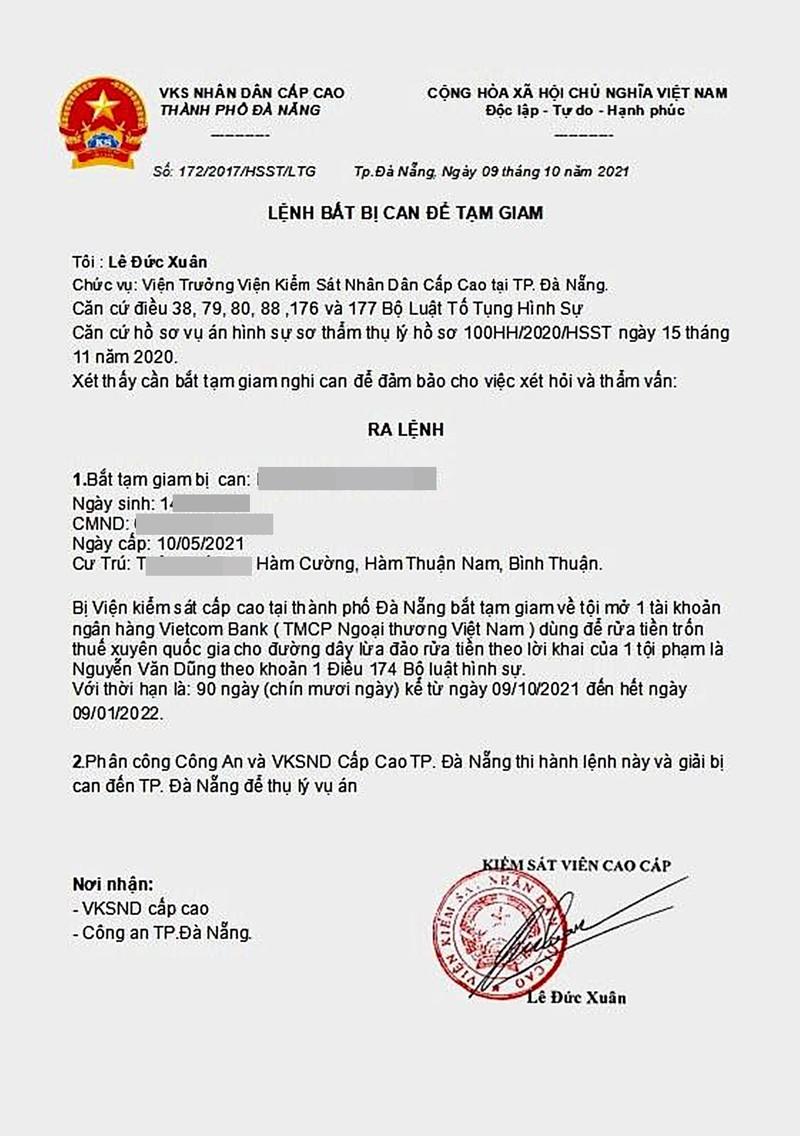 Thực hư về 'Lệnh bắt bị can để tạm giam' của Viện kiểm sát cấp cao Đà Nẵng - ảnh 1