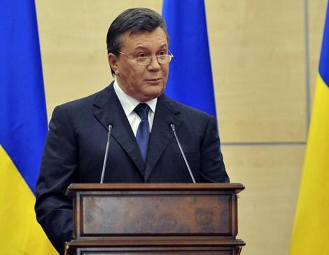 Tổng thống bị lật đổ của Ukraine Viktor Yanukovych phát biểu trong cuộc họp báo chiều ngày 11/3.