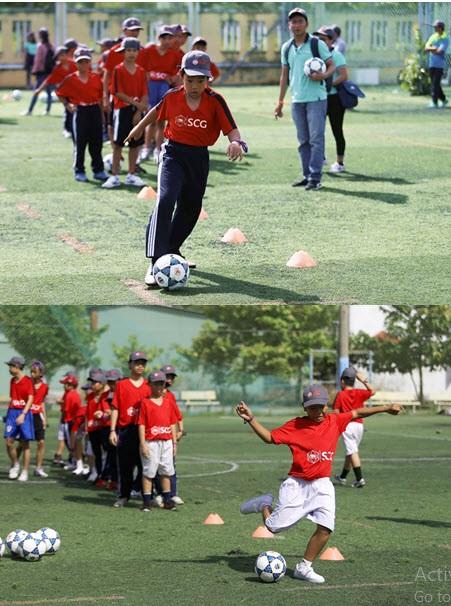 Học bóng đá cùng Quang Hải và các cầu thủ CLB Hà Nội - ảnh 2