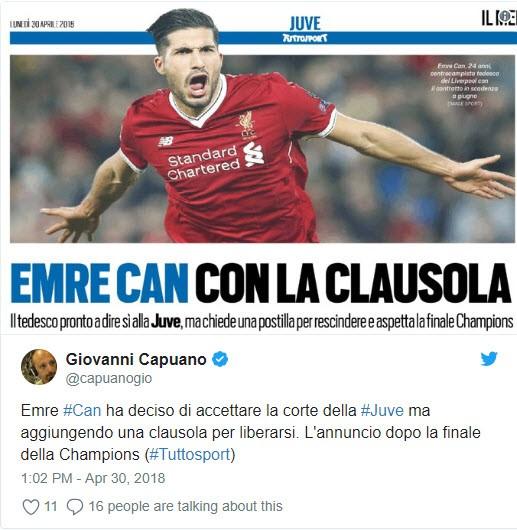 Liverpool mất trắng Emre Can cho Juventus - ảnh 1