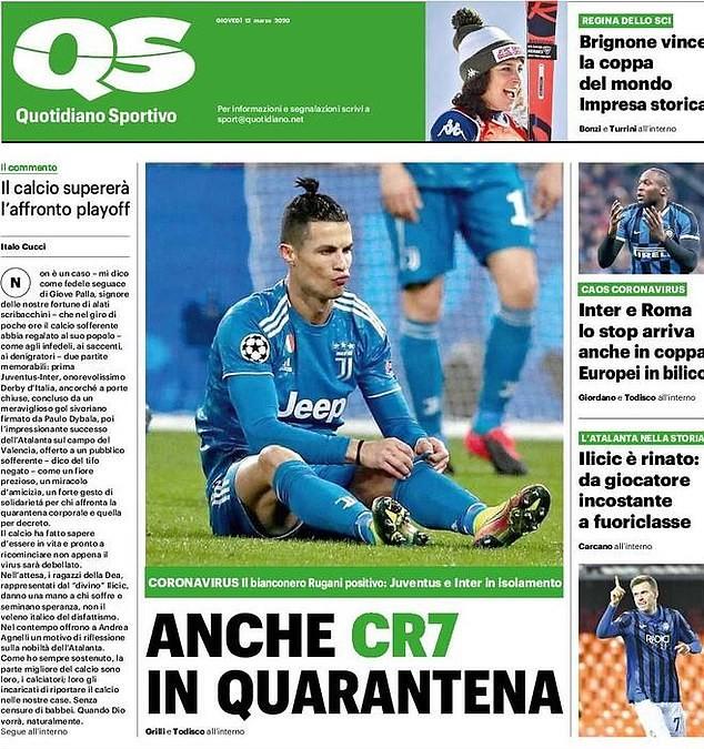 Siêu sao Ronaldo bị cách ly vì dịch COVID-19 - ảnh 3