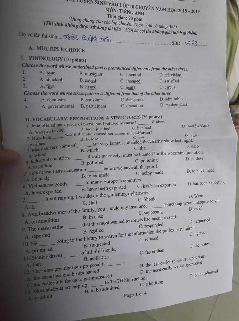 Thí sinh thở phào với đề tiếng Anh vào Trung học Thực hành - ảnh 2