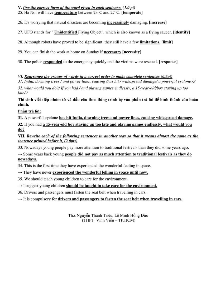 Gợi ý giải đề thi môn tiếng Anh tuyển sinh lớp 10 tại TP.HCM - ảnh 3
