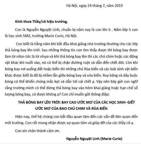 HS lớp 6 viết thư mong không thả bóng bay trong lễ khai giảng - ảnh 1