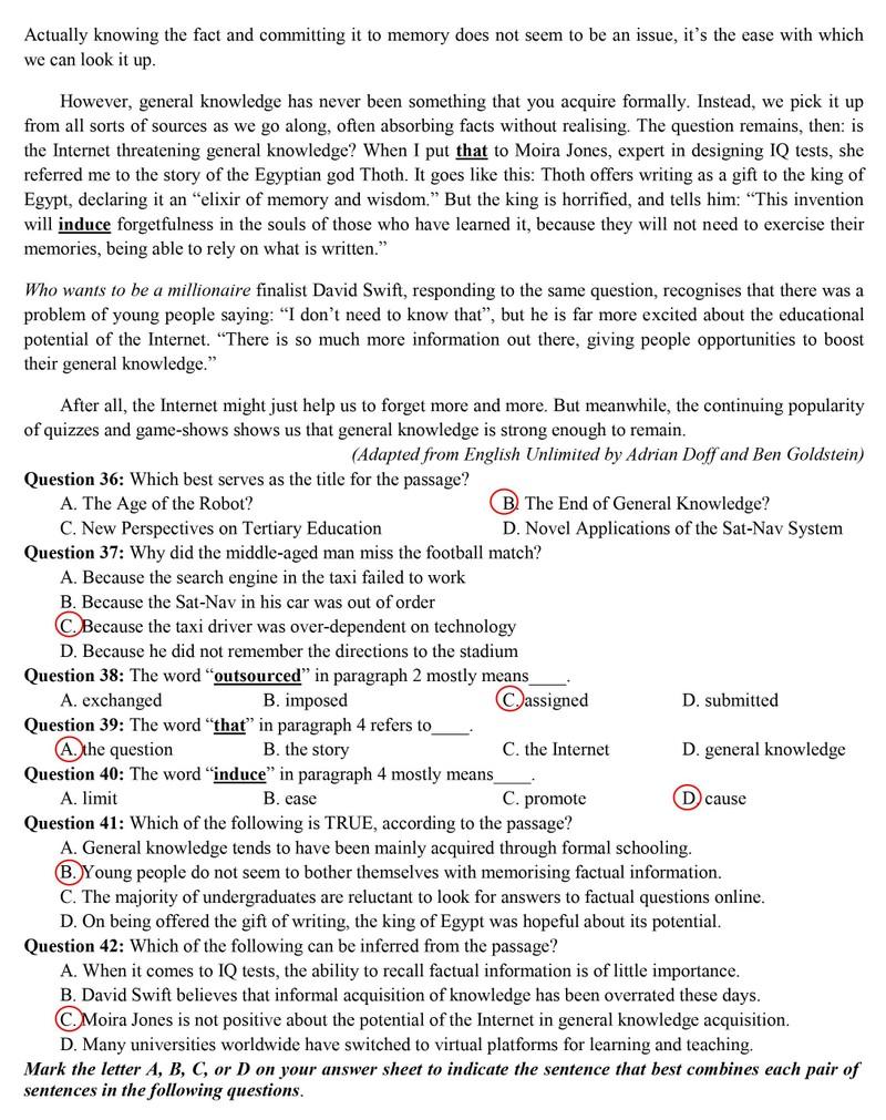 Thi tốt nghiệp THPT: Gợi ý bài giải môn tiếng Anh - ảnh 5