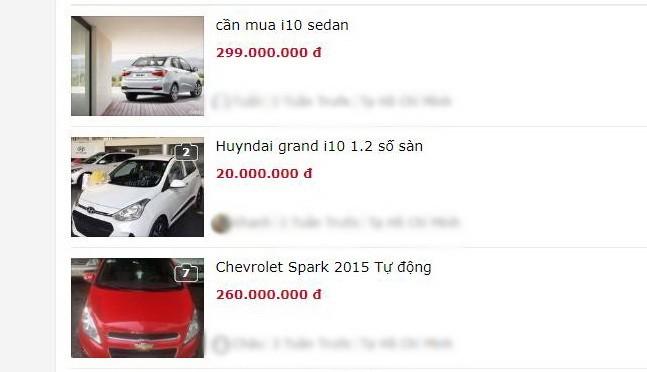 Nhiều mẫu xe có giá chỉ từ 200-300 triệu đồng