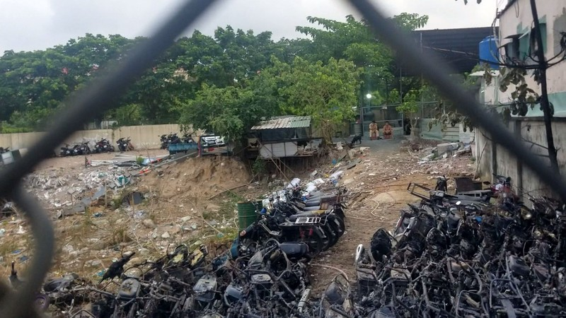 75 xe máy bị cháy tại Công an TP Thủ Đức do chập điện - ảnh 1