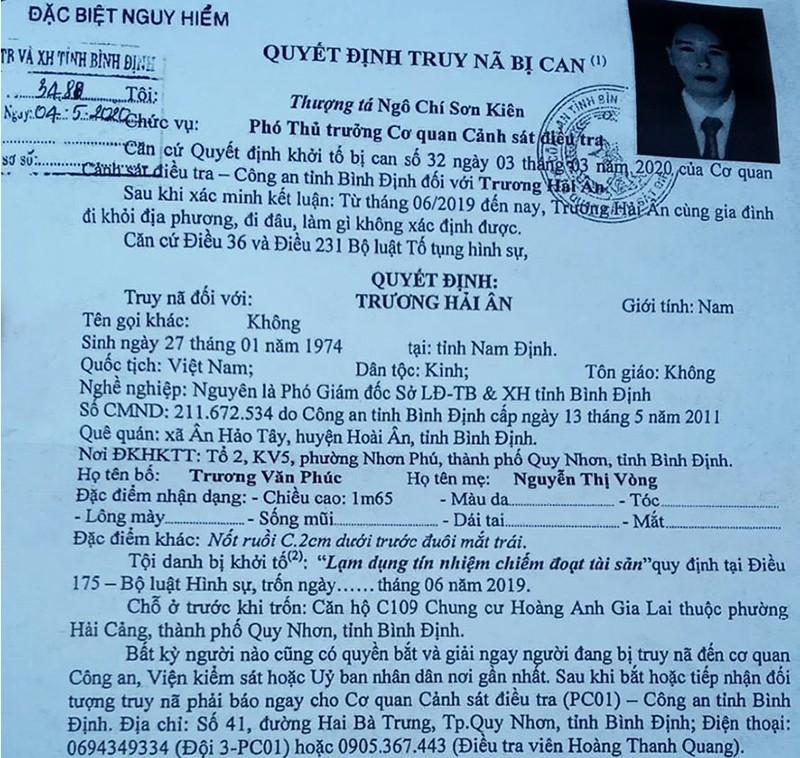 Truy nã đặc biệt cựu phó giám đốc Sở LĐ-TB&XH Bình Định - ảnh 2