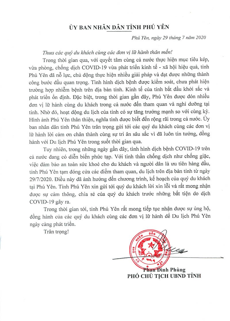 UBND tỉnh Phú Yên xin lỗi du khách vì dịch COVID-19 - ảnh 1