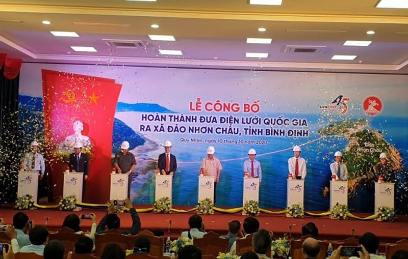 Hoàn thành dự án đưa điện lưới quốc gia ra đảo Nhơn Châu - ảnh 1